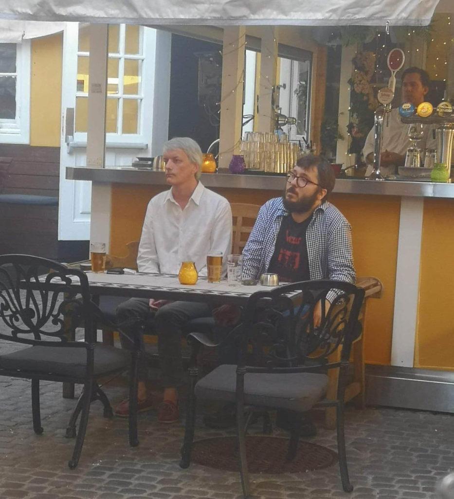 Now's The Times Jazzkro på Stortorvets Gjæstgiveri under Oslo Jazzfestival i fjor: Audun Vinger og Filip Roshauw lytter oppmerksomt til konserten med Ramblin.
